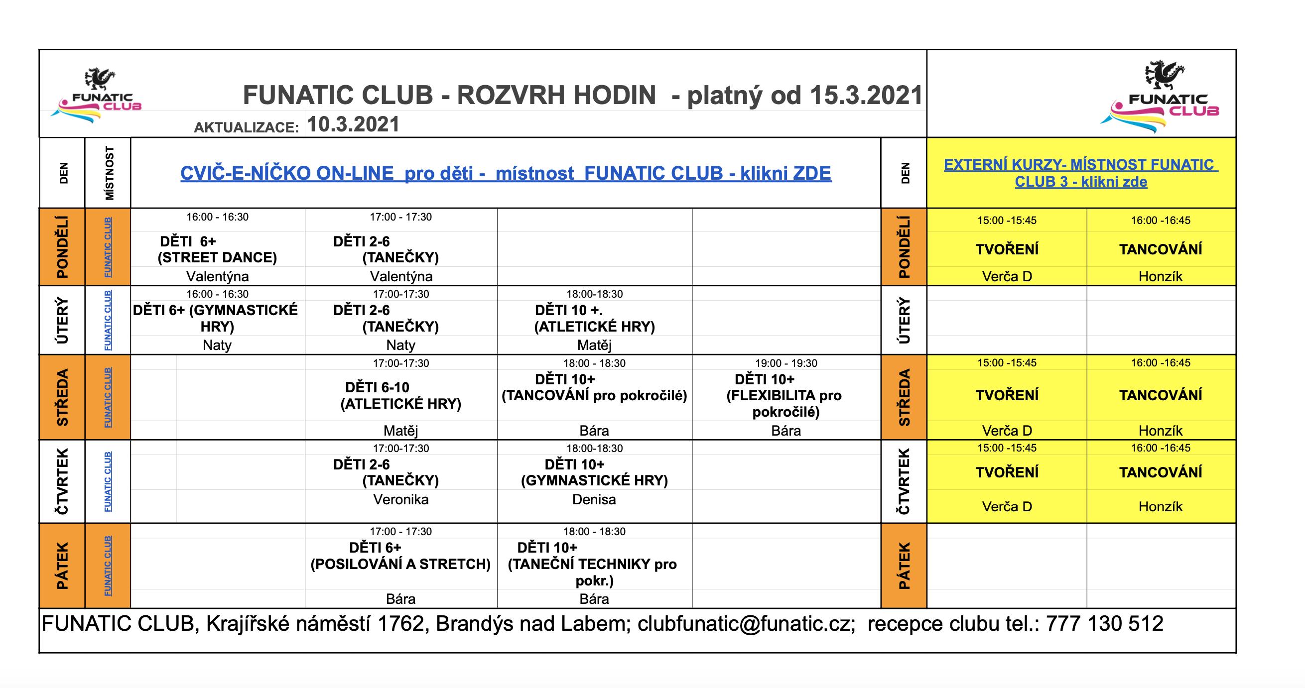 Funatic club rozvrh